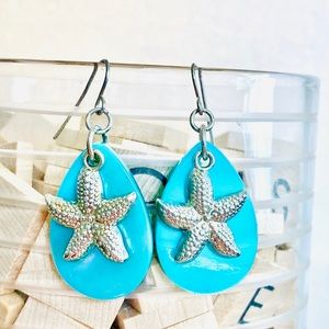 Silver Turquoise Starfish Charm Hook Earrings